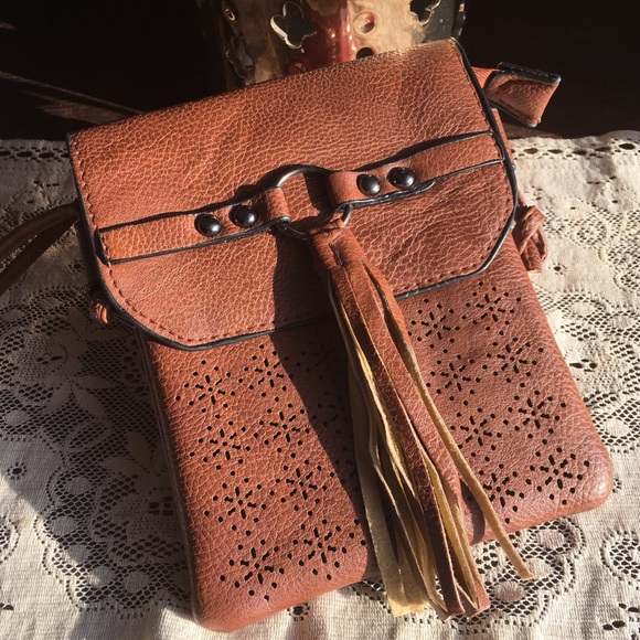 Vegan Leather Tassel Tobacco Brown Crossbody Bag 8d4c91fb109ef